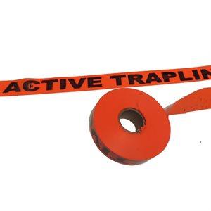 "Flagging Tape Printed ""Active Trapline"" - Orange"