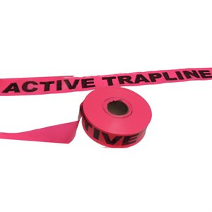 """Flagging Tape Printed -  """"Active Trapline"""" - Pink"""