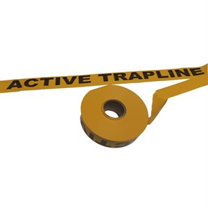 """Flagging Tape Printed """"Active Trapline"""" - Yellow"""