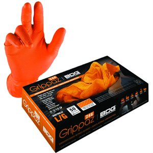 Grippaz Nitrile Gloves - Orange, (25 Pairs)