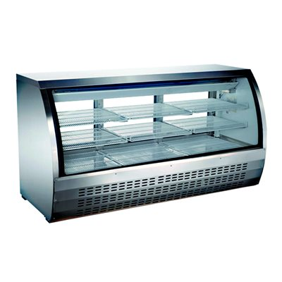 """Refrigerated Floor Showcase - 82"""" Stainless Steel Exterior"""