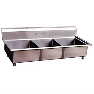 Stainless Steel Three Tub Sink - No Drain Board