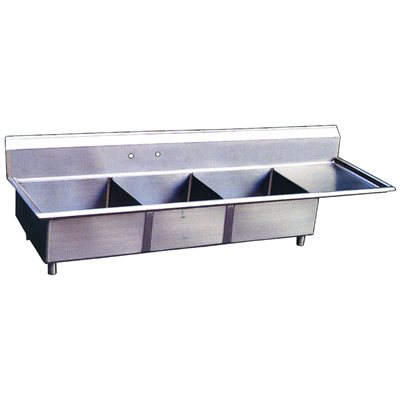 Stainless Steel Three Tub Sink - Right Drain Board