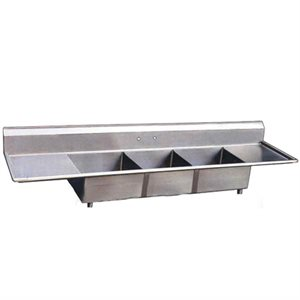 Stainless Steel Three Tub Sink - Two Drain Board
