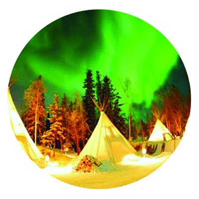 Cabochon - 1'', Tipi With Northern Lights - Style 5