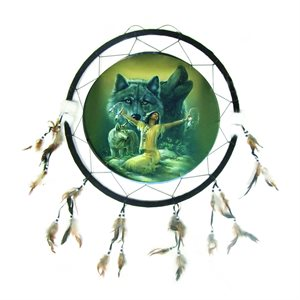"""24"""" Dream Catcher -  Girl with Wolves"""