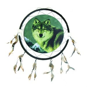 """24"""" Dream Catcher - Single Wolf with Mountains"""
