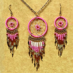 Earring And Necklace Set - Pink
