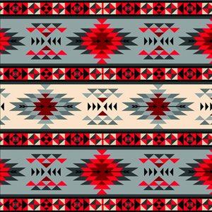 Tribal Stripe - Red/Grey