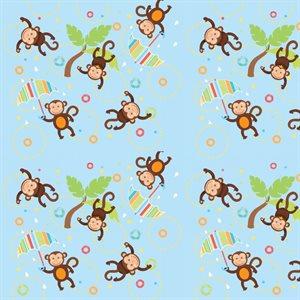 Noah's Ark Flannel - Monkeys - Blue