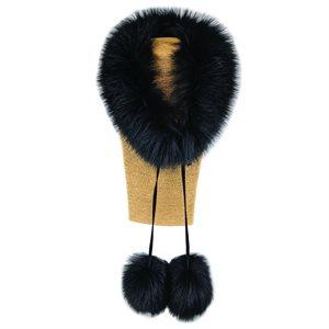Fur Scarf W/ Poms - Black Fox Fur