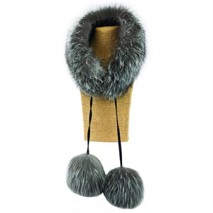 Fur Scarf W/ Poms - Indigo Fox Fur
