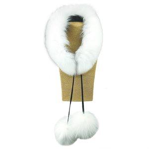 Fur Scarf W/ Poms - White Fox Fur