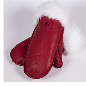 Deer Leather Fur Trim Mitts - Red