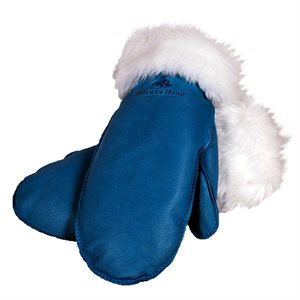 Deer Leather Fur Trim Mitts - Turquoise