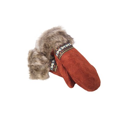 Mitts Suede - Bison Crimson Day W/ Fur Trim (Medium)