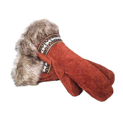 Bison Suede Guantlet - Crimson Day W/Fur Trim (Medium)