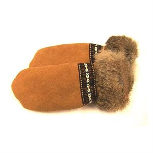Deer Suede Mitts W/Fur Trim - Tan