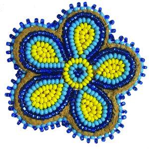 "Beaded Barrette, 2"" Flower Yellow/Blue"