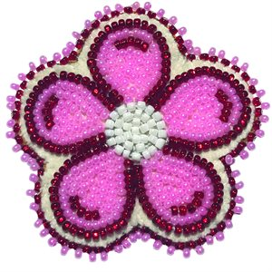 "Beaded Barrette, 2"" Flower Pearl Pink/Red"