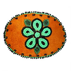 """Beaded Barrette, 4"""" Oval Turquoise and Black"""