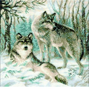 Cross Stitch Kit - Pair Of Wolves