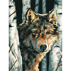 Paint By Numbers - Wolf Among Birches