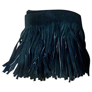 Suede Leather Fringe - Black