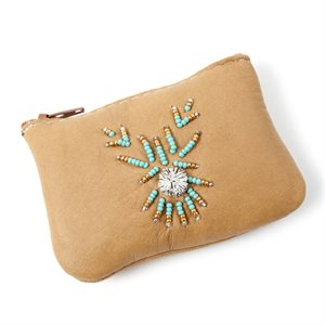 Change Purse - Moosehide With Beading And Tufting - Tan