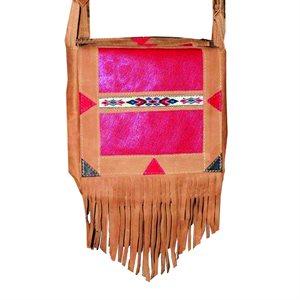Medium Bag - Tan with Red