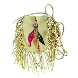 Leather Purse with 3 Feathers