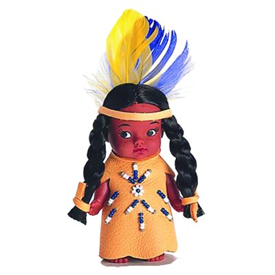 "4"" Indian Doll With Beaded Dress (No Fur)"