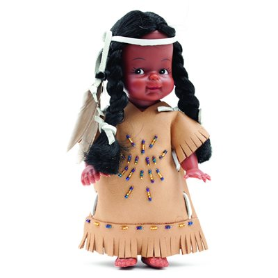 "8"" Indian Doll With Beaded Dress (No Fur)"