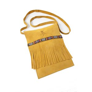 Tan Fringed Suede Purse With Trim