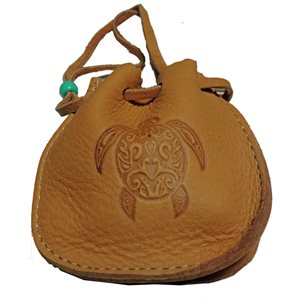 "Medicine Bag 2.5"" W/Turtle Stamp - Light Brn"