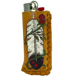 Lighter Case - Feather (with Rose)
