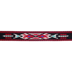Woven Braid Hitched Trim - Black/Red