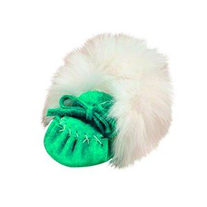 Infant Moccasins Suede (with fur) - Turquoise