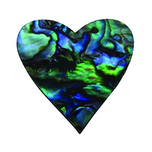 Shell Shapes - Paua Hearts, 25mm (12 per pack)