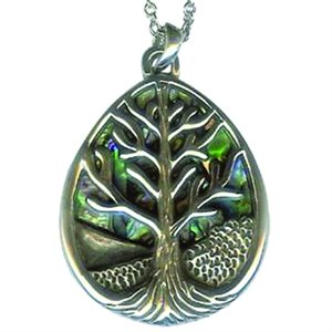 Pendant - Abalone Oval Tree Of Life