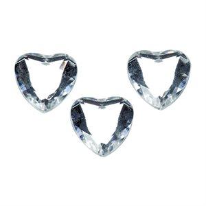 Flat Back Rhinestones - Crystal Heart, 12mm (12 Pieces)
