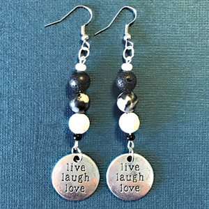 Silver Earings With Live Laugh Love Pendant