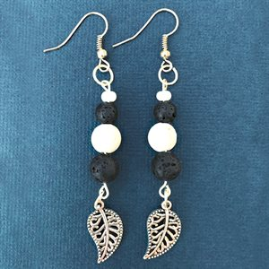 Silver Earings With Lava Rocks