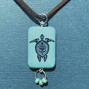 Brown Swede Necklace With Turquoise Turtle