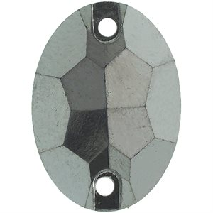 Sew-On Metallic Stones (50 Pieces) 13 x 18mm Oval Gunmetal