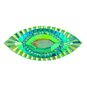 Sew-On Piikki Stones (10 Pieces) 15 x 30 Navette Turquoise