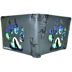 Mens Wallet - Wolf Paw Print, Grey/Black