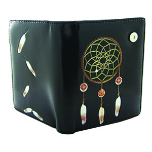 Ladies Short Wallet - Dream Catcher Black