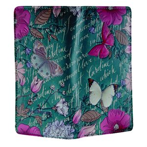 Ladies Wallet - Vintage Butterfly Floral - Teal (Zipper)