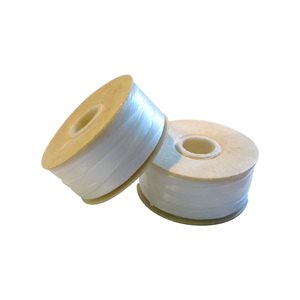 Nymo Thread Bobbin Size B - White, 72 Yards (2 Bobbins)